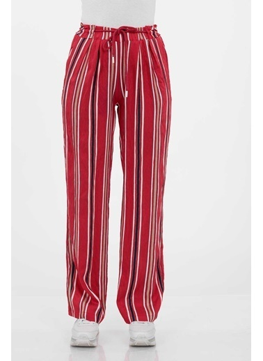 Vitrin Belden Lastikli Çizgili Pantolon Kırmızı